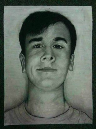 Self-Portrait; Charcoal, Paper